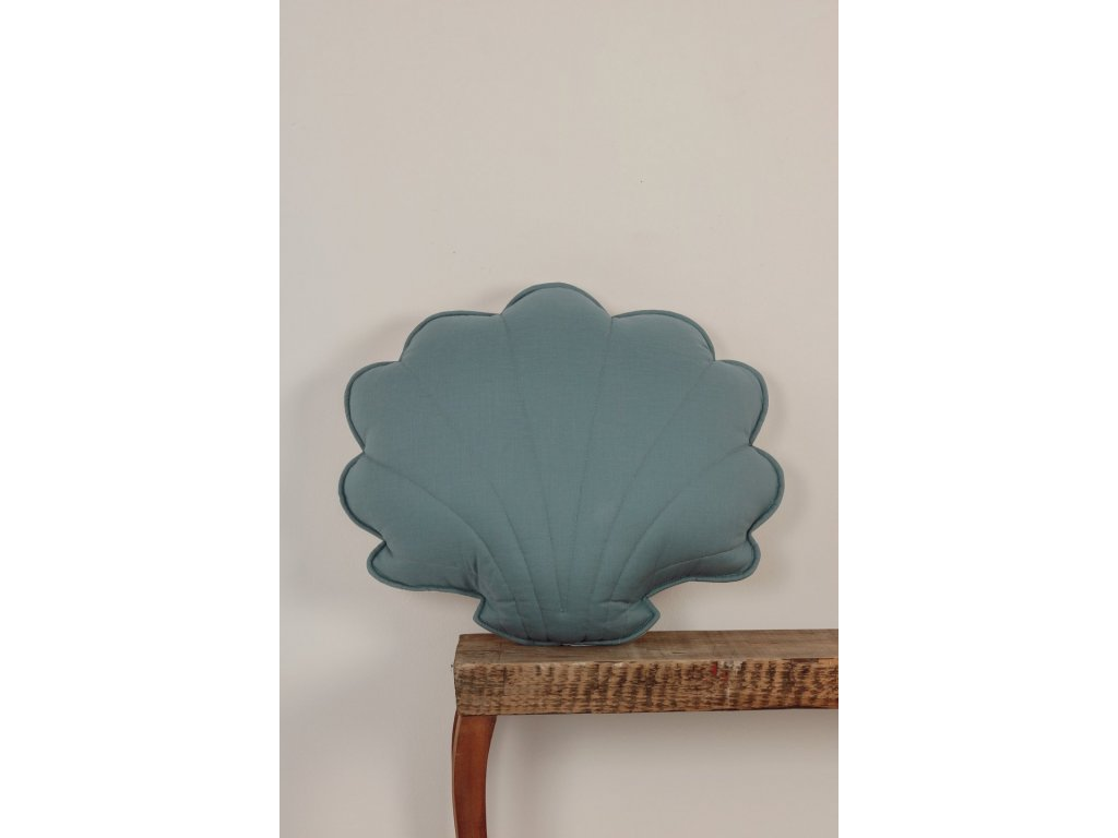 Lněný polštářek mušle - Mořská modrá
