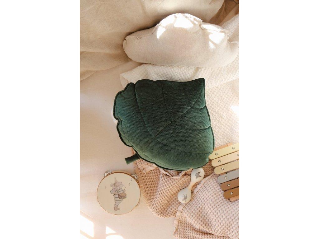 Velvet polštářek lístek - Zelený