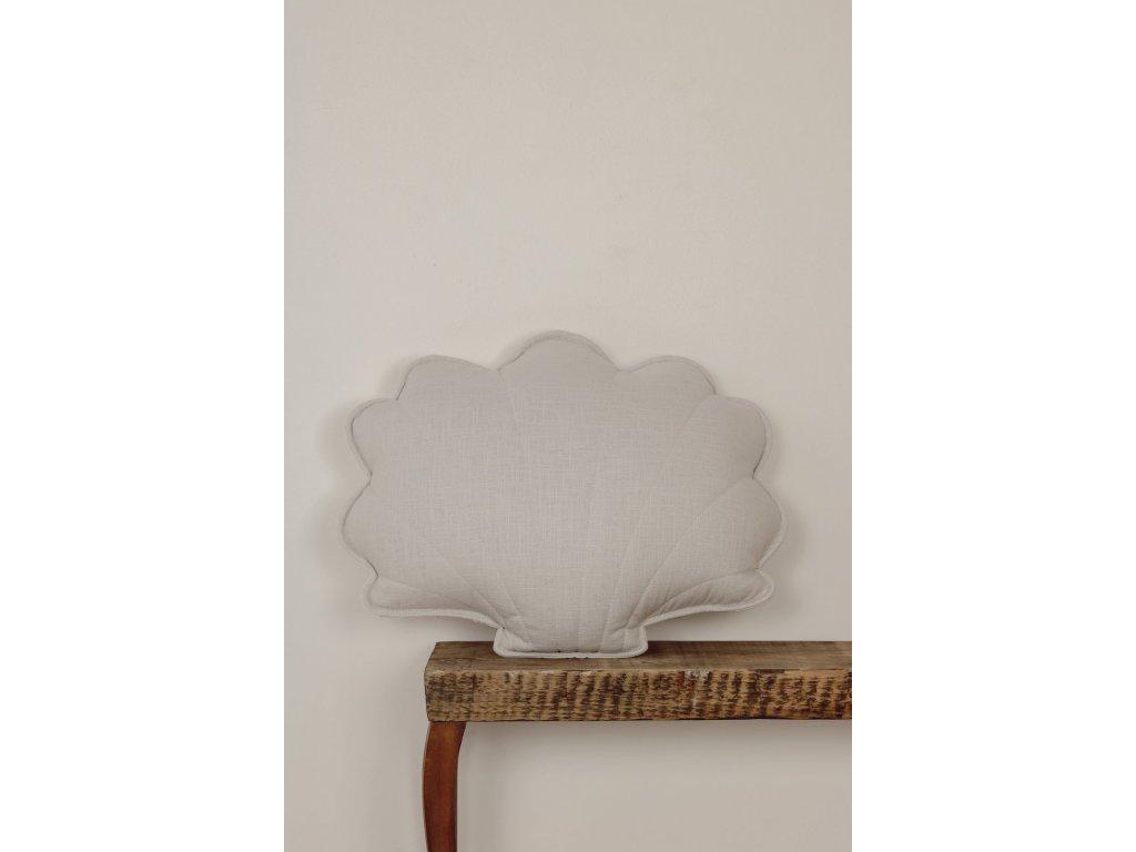 Lněný polštářek mušle - holubí šedá