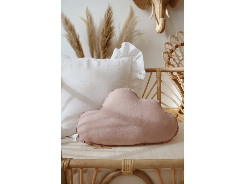 Lněný polštářek obláček - pudrově růžový