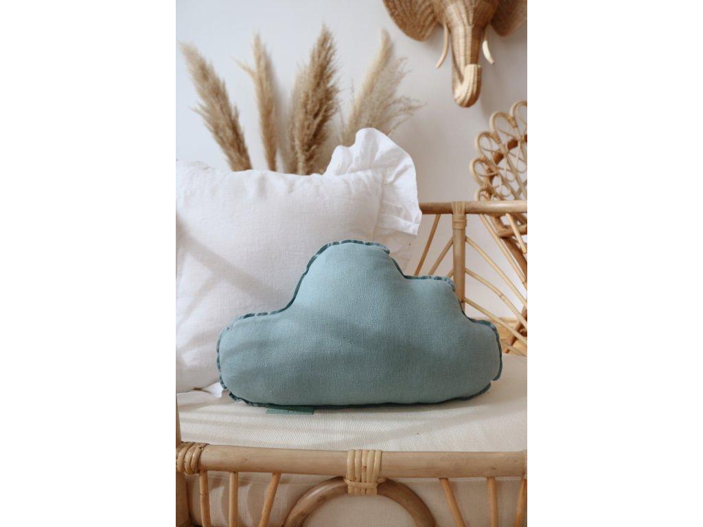 Lněný polštářek obláček - Mořská modrá