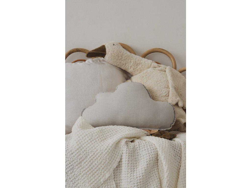 Lněný polštářek obláček - Holubí šedá
