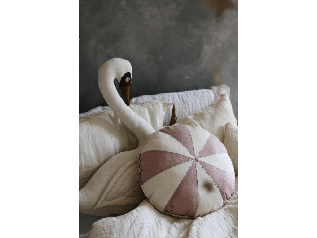 Lněný polštářek cirkus - pudrové růžový