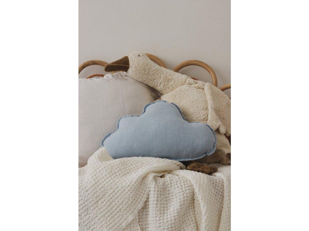 Lněný polštářek obláček - Baby blue