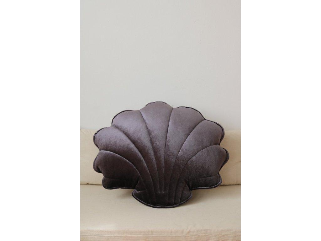 Velvet polštářek mušle - grafitová perla