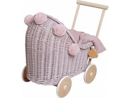 Proutěný kočárek pro panenky růžový s bambulemi