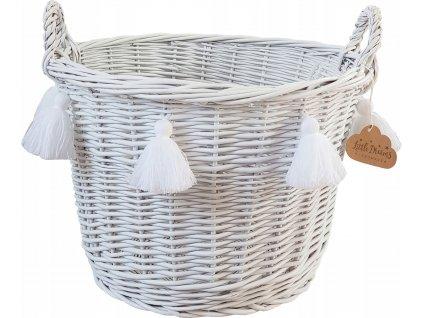 Proutěný košík kulatý bílý s třásněmi