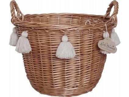 Proutěný košík kulatý přírodní s třásněmi