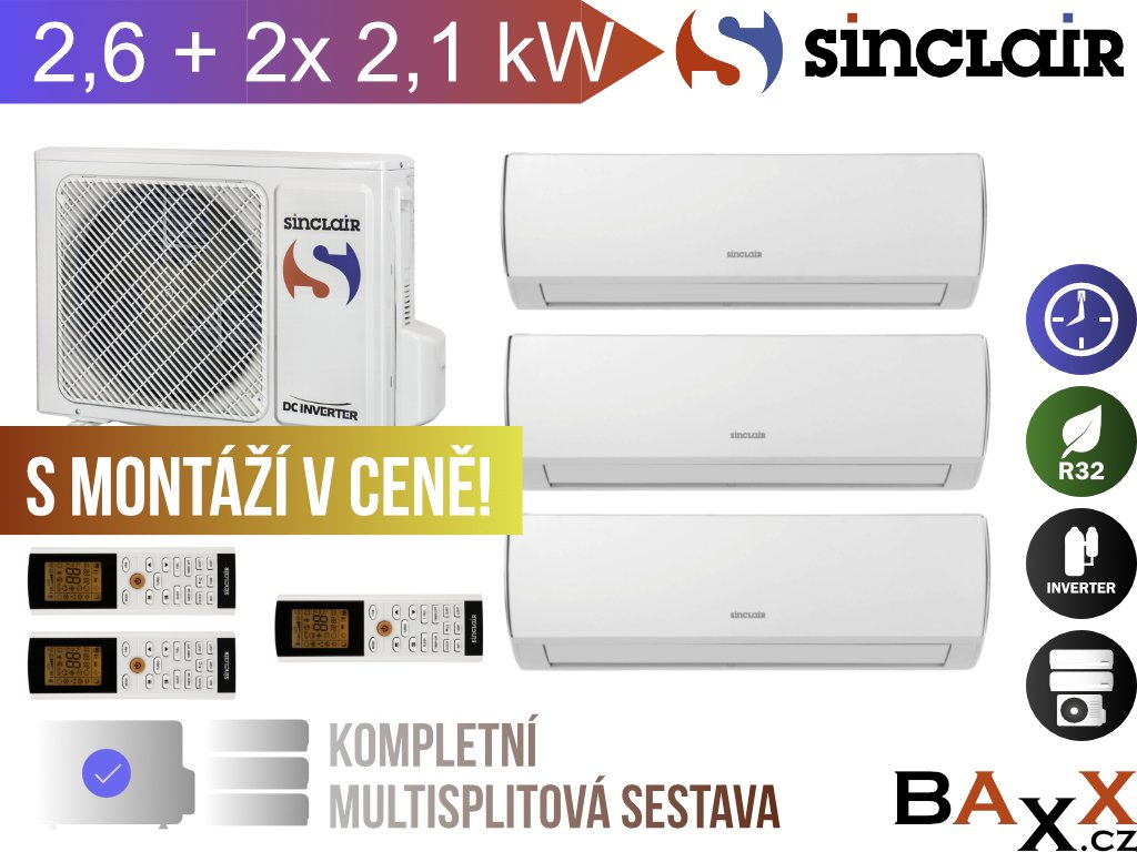 Sinclair Vision 2,6 + 2x 2,1 kW