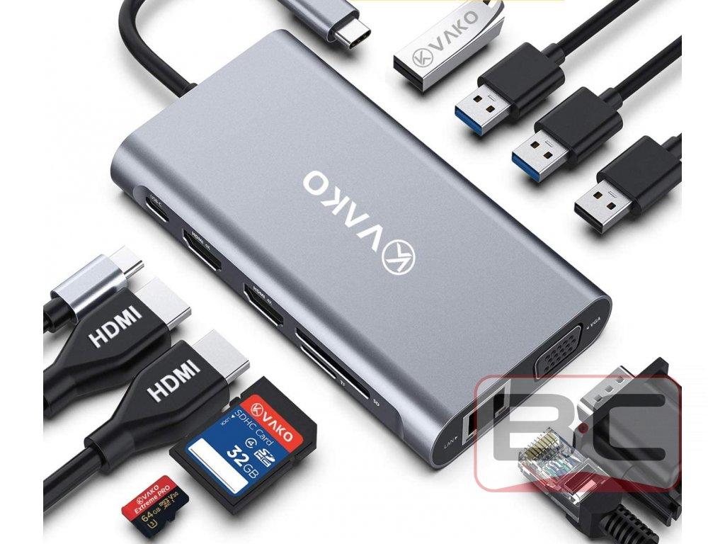 Dokovací stanice s USB-C, 2x USB 3.0, 2x USB 2.0, microSD, SD, 2x HDMI, VGA, GLAN, USB-C Bazarcom.cz