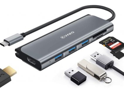 Dokovací stanice s USB-C, 3x USB 3.0, micro SD, SD, HDMI Bazarcom.cz
