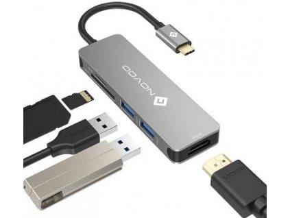 Dokovací stanice s USB-C, 2x USB 3.0, MicroSD, SD, HDMI, USB-C BazarCom.cz