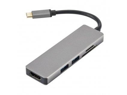 Dokovací stanice s USB-C, 3x USB 3.0, micro SD, SD, HDMI, USB-C Bazarcom.cz