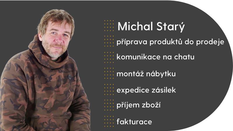 Michal Starý pracuje v BAZARU na přípravě produktů na e-shop, komunikuje na chatu, montuje nábytek, expeduje zásilky a také příjmá zboží