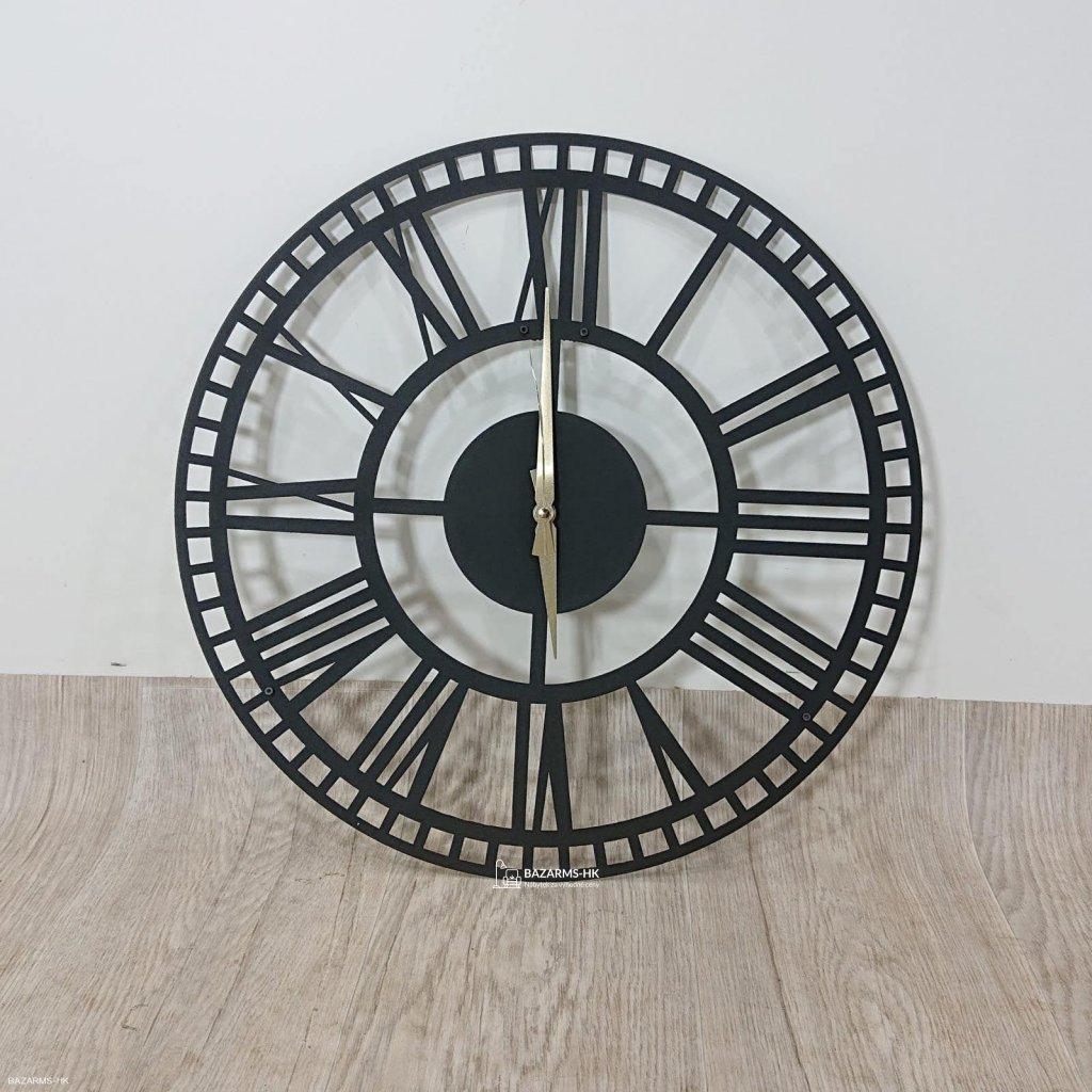 Černé nástěnné hodiny Roman Clock 2