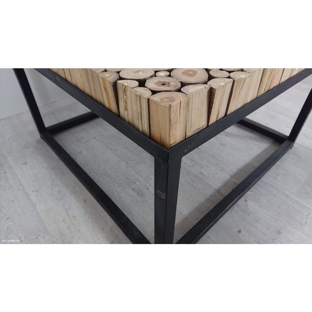 Černý konferenční stolek z teakového dře