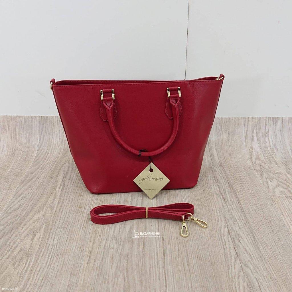Červená kožená kabelka Giulia Massari Ja