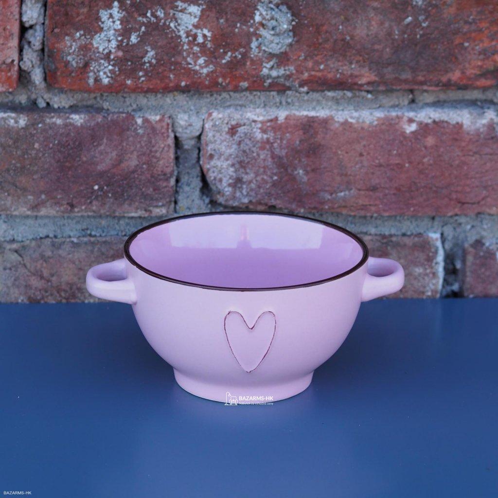 Miska keramická HEART 660 ml růžová