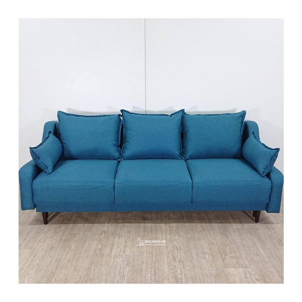 Tyrkysová rozkládací pohovka s úložným prostorem Mazzini Sofas Ancolie, 215 cm