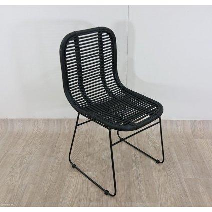 Černá jídelní židle z ratanu HSM collect
