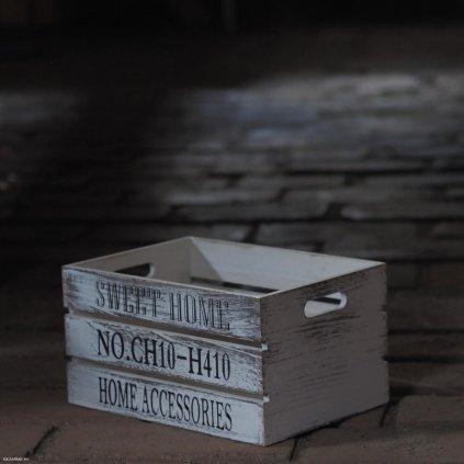 Bílá dřevěná bedýnka Sweet Home