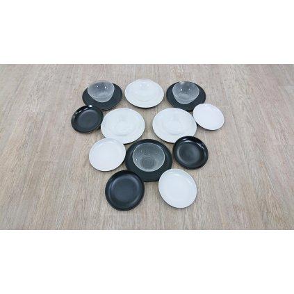 18dílná sada černo-bílého nádobí z kameniny Villa d'Este Contempora_2