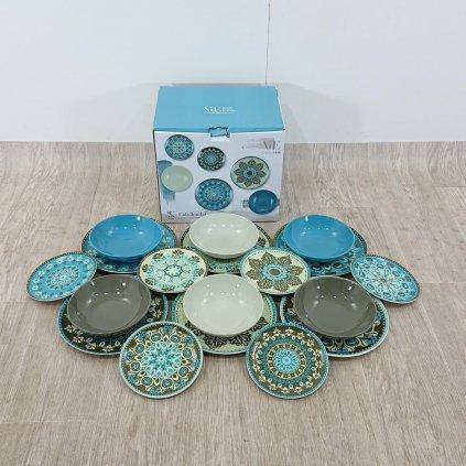 18dílná sada talířů z porcelánu a kameniny Villa'd Este Cala Jondal Mar