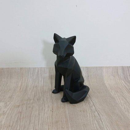 Matně černá soška PT LIVING Origami Fox, výška 26 cm