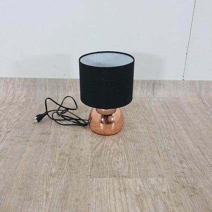 Černá stolní lampa s kovovým podstavcem v měděné barvě Geese, výška 26 cm