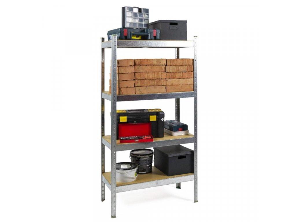 AKCE - Balíček : 10x Regál kovový zinkovaný 4-policový 1600×800×400 mm, nosnost 700 kg