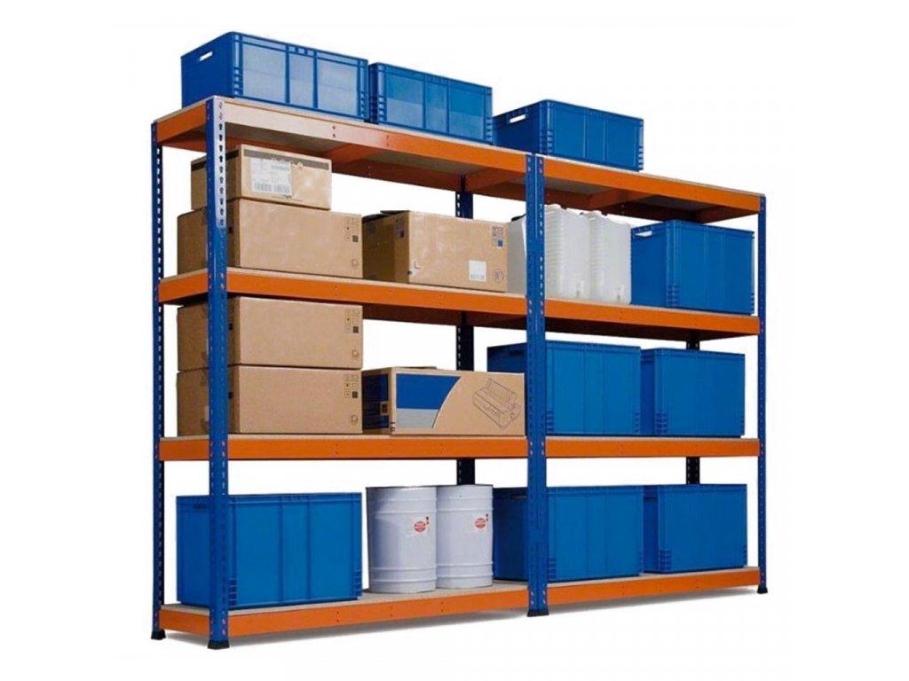 AKCE - Balíček : 3x  Regál průmyslový PROFESIONÁLNÍ 1800×1800×400 mm lakovaný 4-policový, nosnost 1600kg