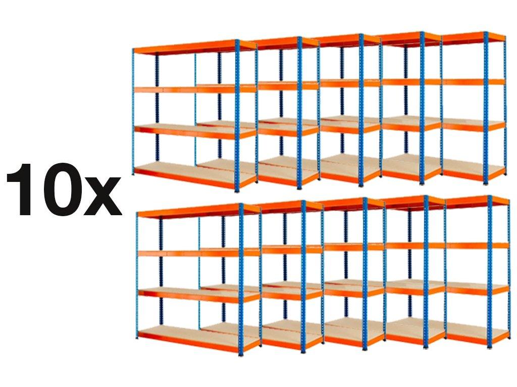 AKCE - Balíček : 10x  Regál průmyslový PROFESIONÁLNÍ 1800×1800×600 mm lakovaný 4-policový, nosnost 1600kg