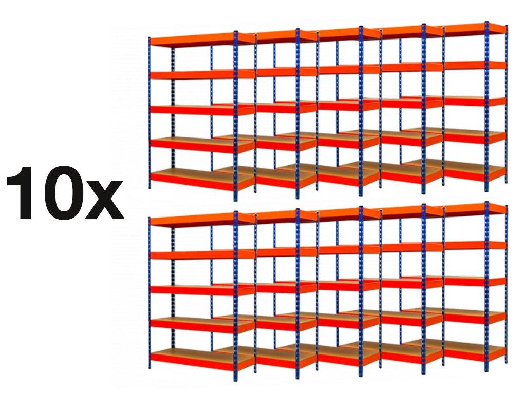 AKCE - Balíček : 10x  Regál průmyslový PROFESIONÁLNÍ 2160×1400×400 mm lakovaný 5-policový, nosnost 2000kg