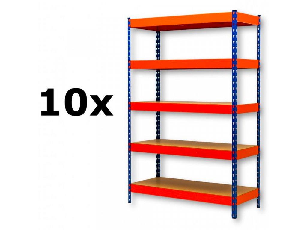 AKCE - Balíček : 10x  Regál průmyslový PROFESIONÁLNÍ 2160×1400×700 mm lakovaný 5-policový, nosnost 2000kg