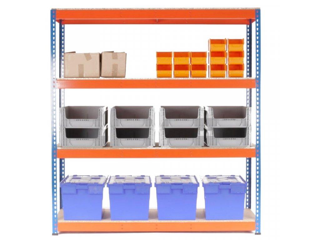AKCE - Balíček : 20x  Regál průmyslový PROFESIONÁLNÍ 1680×1600×400 mm lakovaný 4-policový, nosnost 1600kg