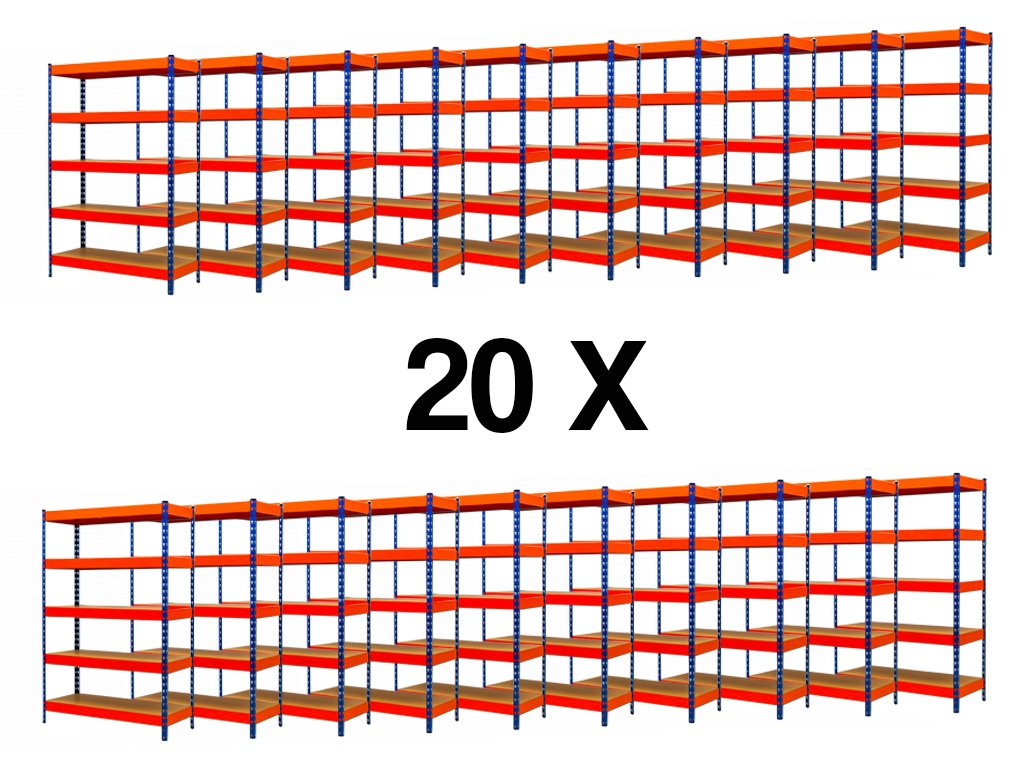 AKCE - Balíček : 20x  Regál průmyslový PROFESIONÁLNÍ 2160×1400×400 mm lakovaný 5-policový, nosnost 2000kg