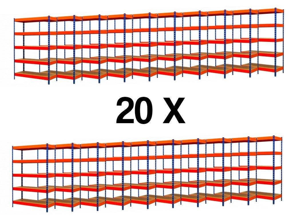 AKCE - Balíček : 20x  Regál průmyslový PROFESIONÁLNÍ 2160×1400×500 mm lakovaný 5-policový, nosnost 2000kg