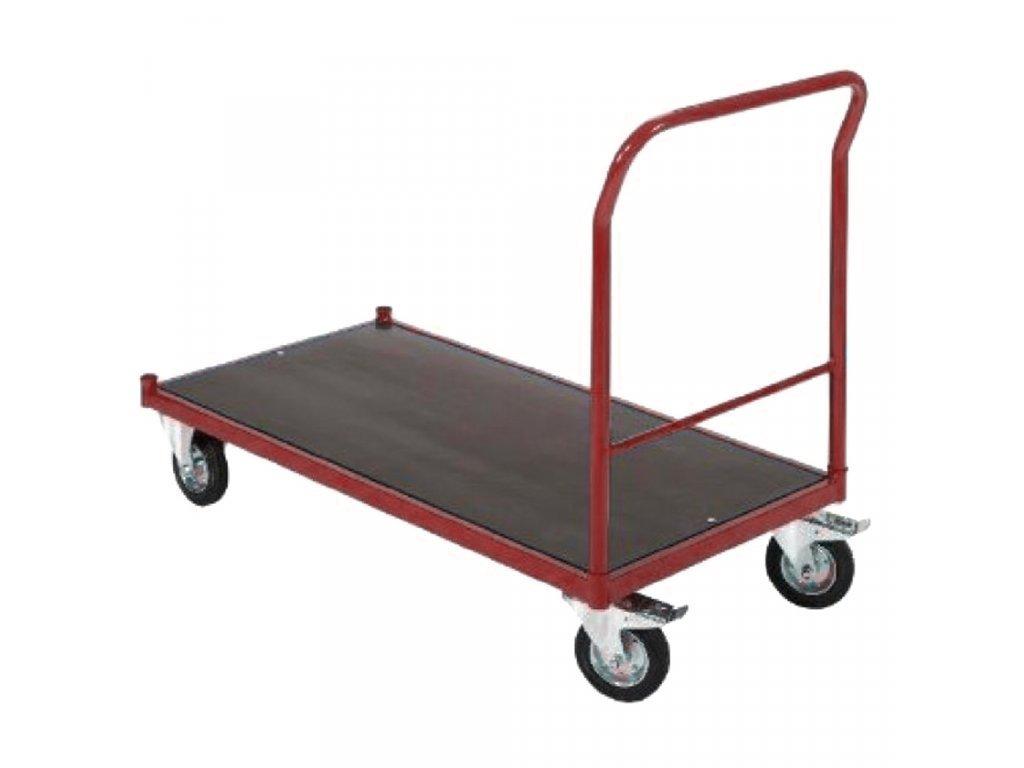 Skladový vozík s nosností 500 kg s brzdou - ČERVENÝ