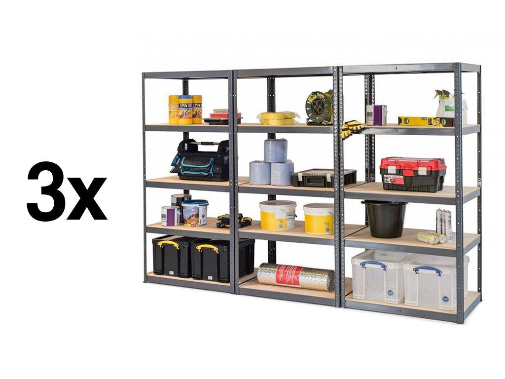 Akce - Balíček: 3x Regál kovový lakovaný 5-policový 1800×900×300 mm, nosnost 875 kg - ŠEDÝ