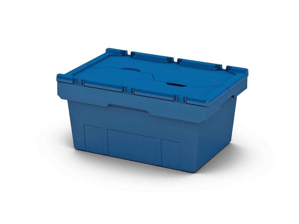 Plastový přepravní box 60 x 40 x 43,5 cm s víkem – MODRÁ