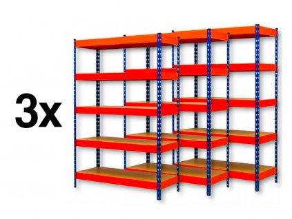 AKCE - Balíček : 3x  Regál průmyslový PROFESIONÁLNÍ 2160×1400×500 mm lakovaný 5-policový, nosnost 2000kg