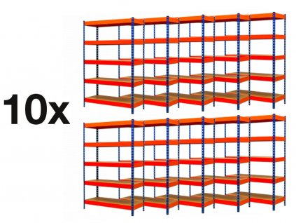 AKCE - Balíček : 10x  Regál průmyslový PROFESIONÁLNÍ 2160×1400×500 mm lakovaný 5-policový, nosnost 2000kg