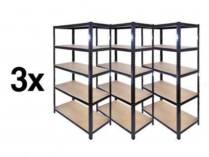 AKCE - Balíček : 3x Regál 1800×900×300 mm lakovaný 5-policový, nosnost 875 kg - ČERNÝ
