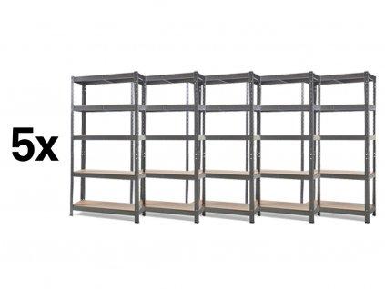 Akce - Balíček: 5x Regál kovový lakovaný 5-policový 1800×900×300 mm, nosnost 875 kg - ŠEDÝ
