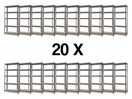 Akce - Balíček: 20x Regál kovový lakovaný 5-policový 1800×900×300 mm, nosnost 875 kg - ŠEDÝ