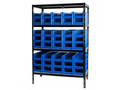 3429 6 regal kovovy lakovany 4 policovy s ukladacimi boxy 1800 1200 600 mm nosnost 1000 kg
