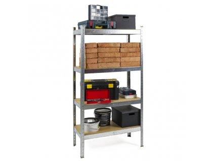 Regál kovový zinkovaný 4-policový 1600×800×400 mm, nosnost 700 kg