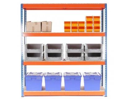 Regál průmyslový PROFESIONÁLNÍ 1680×1600×400 mm lakovaný 4-policový, nosnost 1600kg