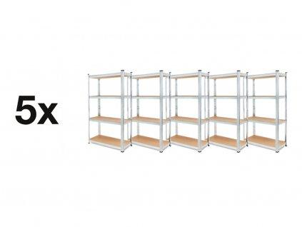 AKCE - Balíček : 5x Regál 1800×900×400 4police zinkovaný kovový