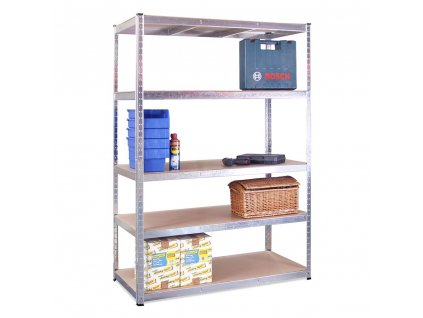 0047 five tier boltless shelving unit 180x120x60 galvanised propped